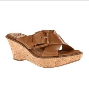 Sofft Balere Wedges Brown Tan Sandals Shoes 9.5